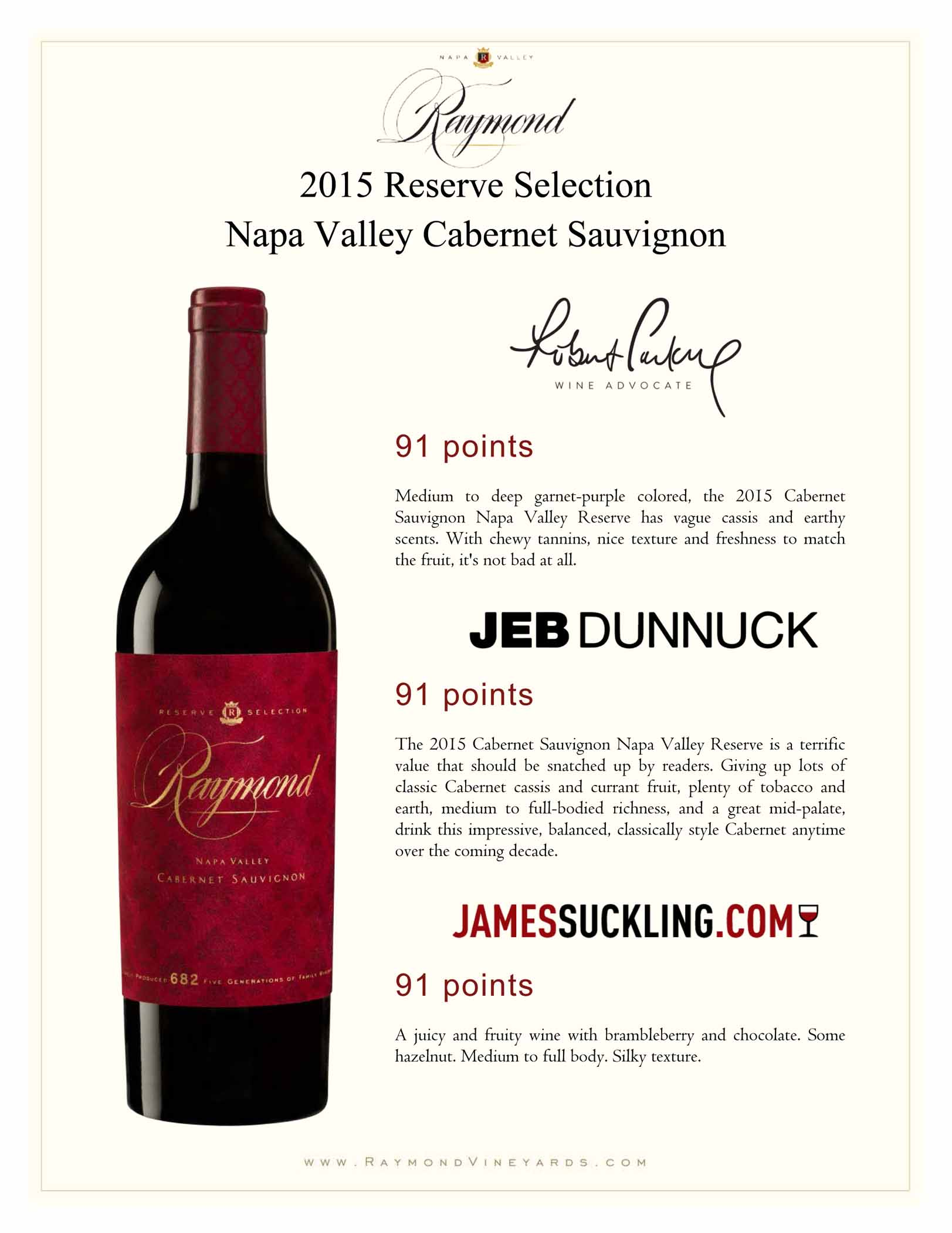 Raymond Cabernet Reserve 2015 Earns 91 Point Rating